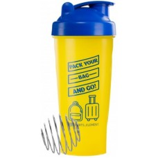 Спортивный шейкер 2DТрейд  «Bag»  Желтый с синей крышкой 600 мл.